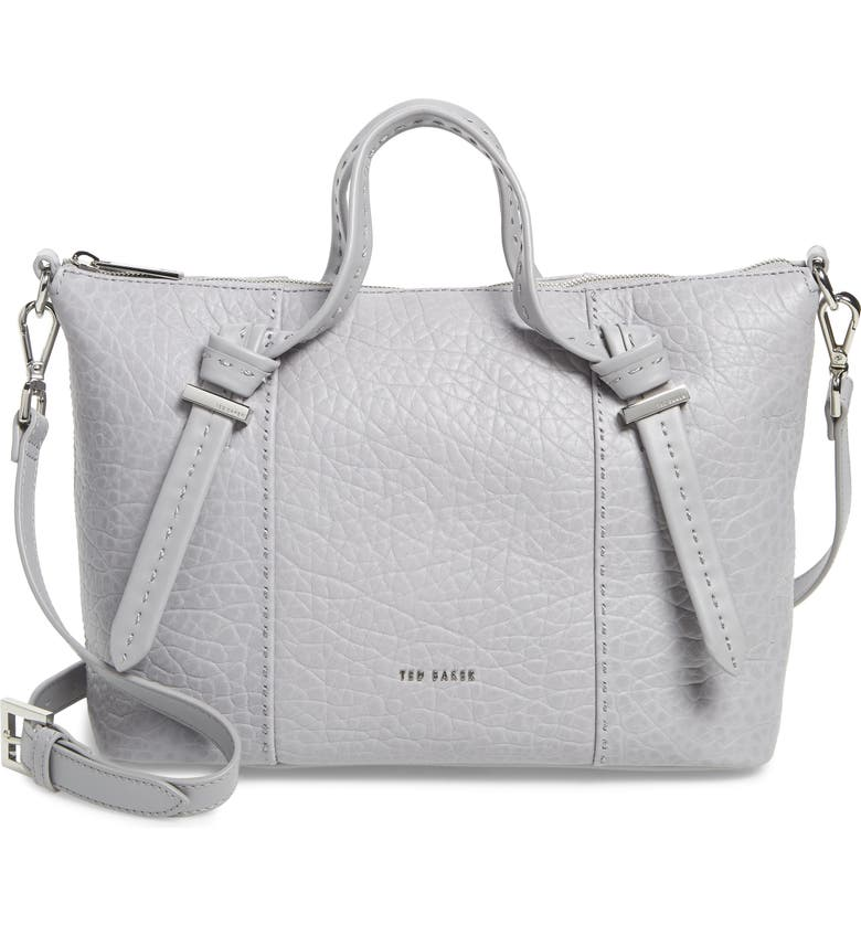 TED BAKER LONDON Small Olmia Knotted Handle Leather Tote, Main, color, LIGHT GREY