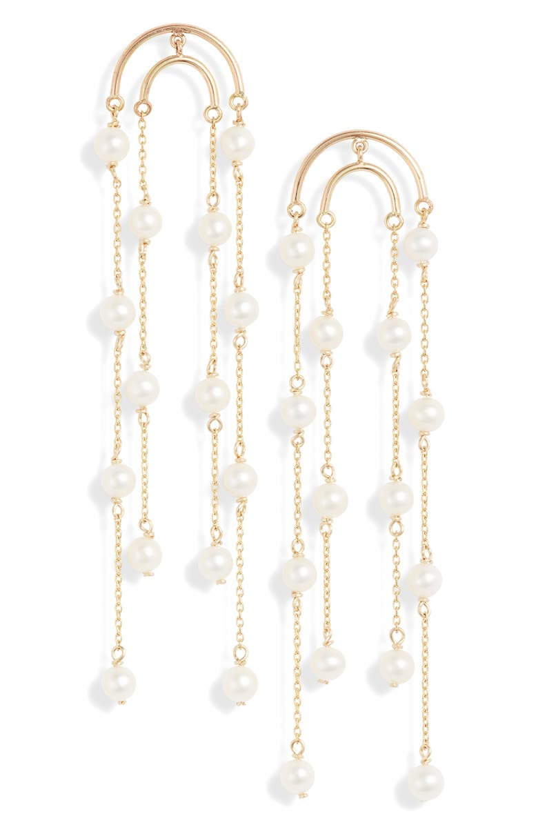 POPPY FINCH Double Crescent Long Pearl Earrings, Main, color, YELLOW GOLD/ PEARL
