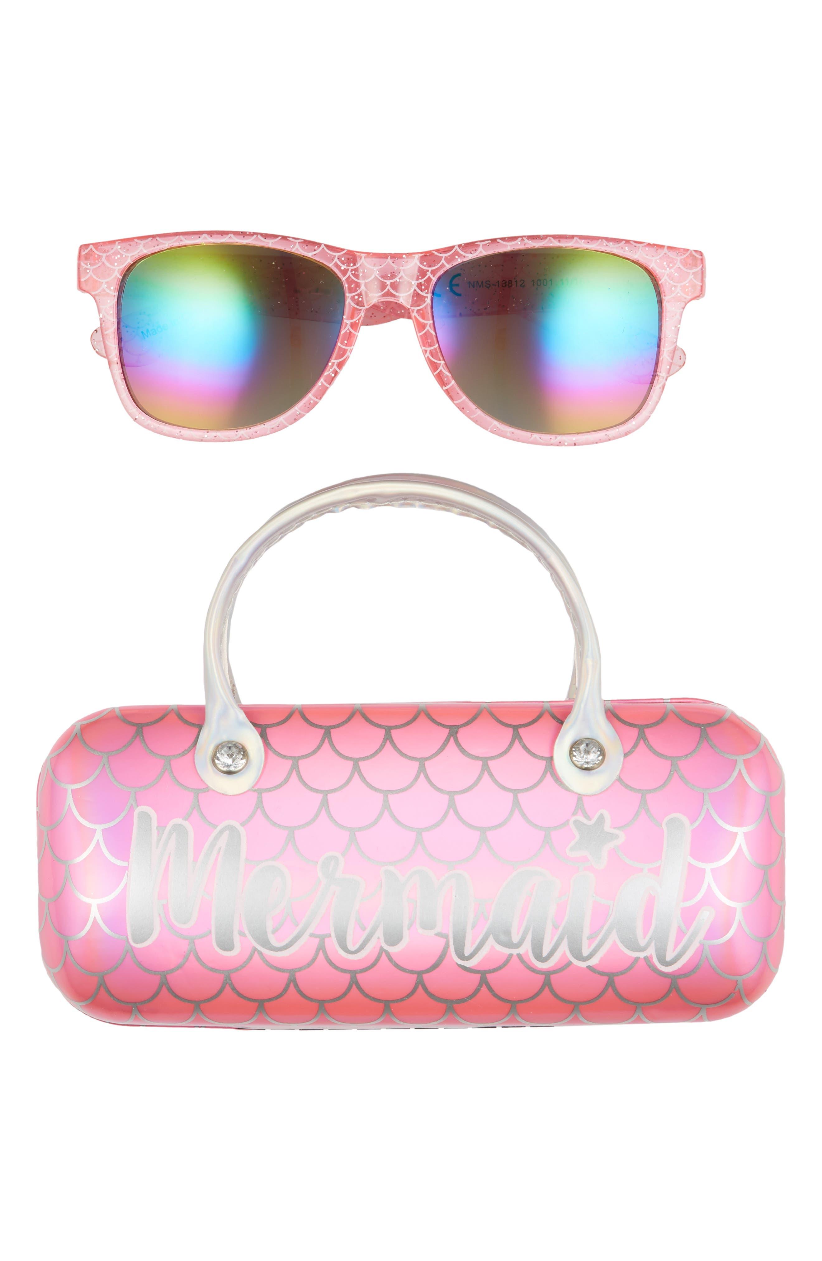 Girls Capelli New York Mermaid Sunglasses  Case Set  Pink Cmbo