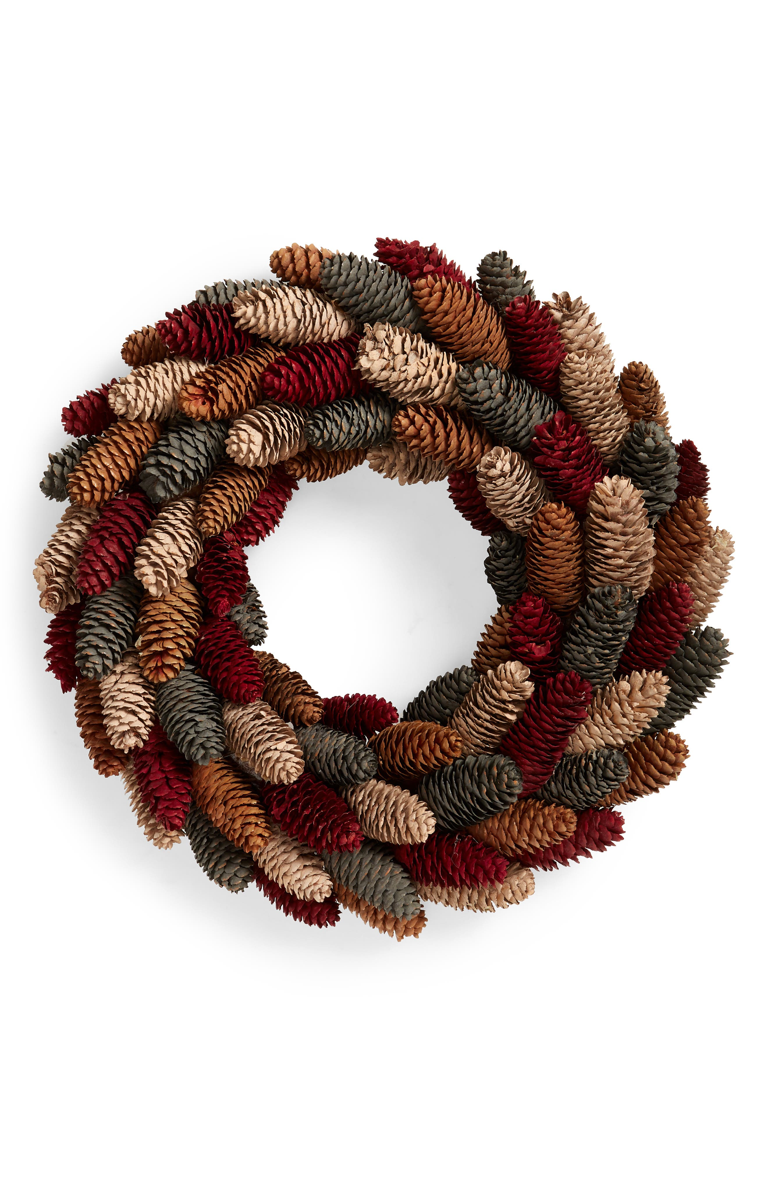 A medley of painted pinecones evokes the colors of the autumnal leaves on this unique door wreath. Style Name: Allstate Pinecone Wreath. Style Number: 6082329. Available in stores.