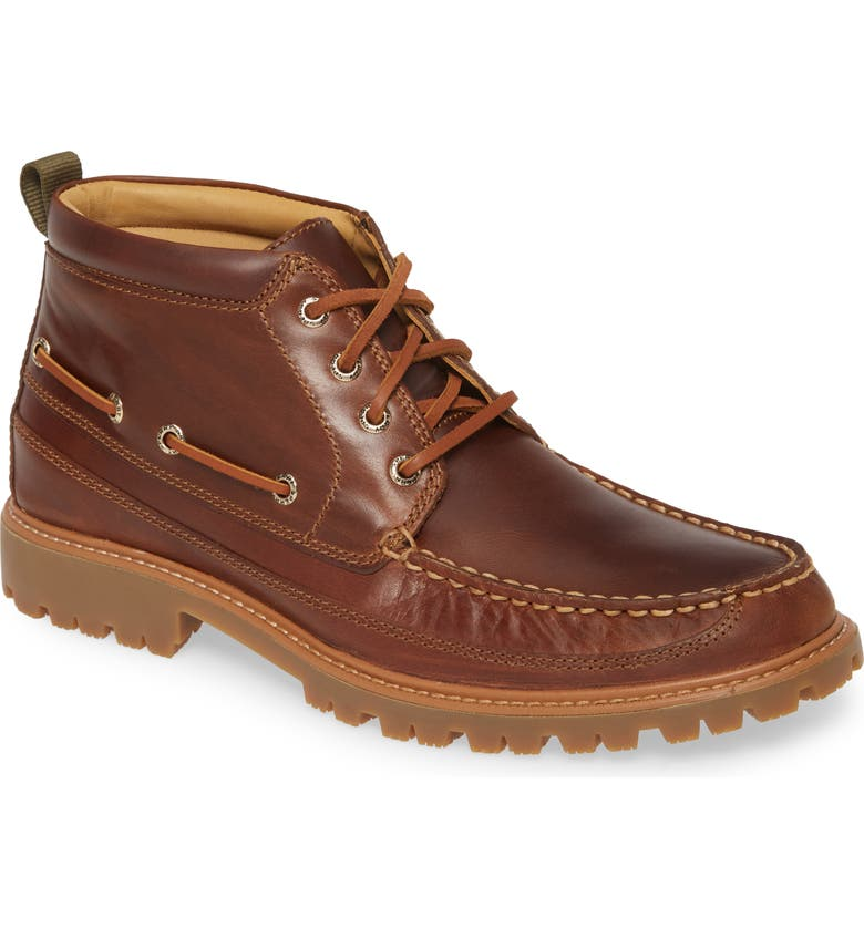 SPERRY Gold Authentic Original Moc Toe Boot, Main, color, TAN LEATHER