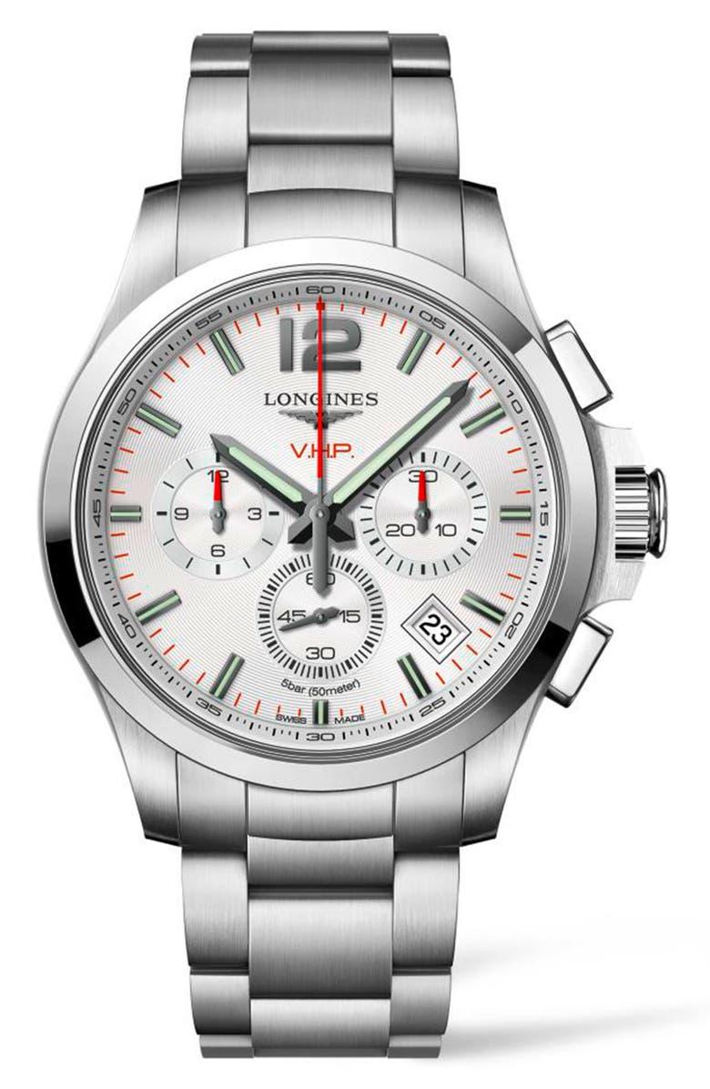 LONGINES Conquest V.H.P. Bracelet Watch, 41mm, Main, color, SILVER