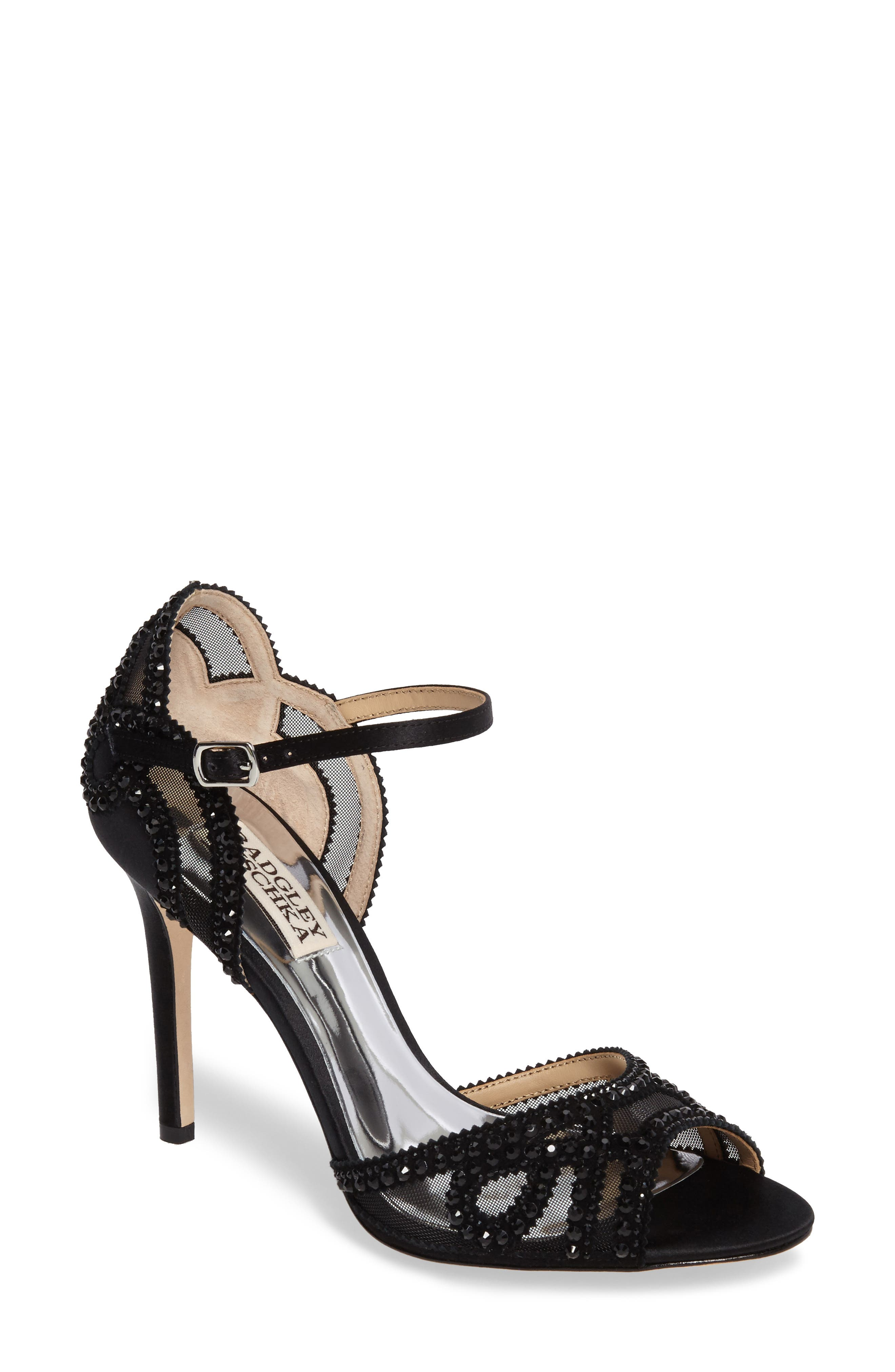 Image of Badgley Mischka Embellished Mesh Stiletto Heel Sandal