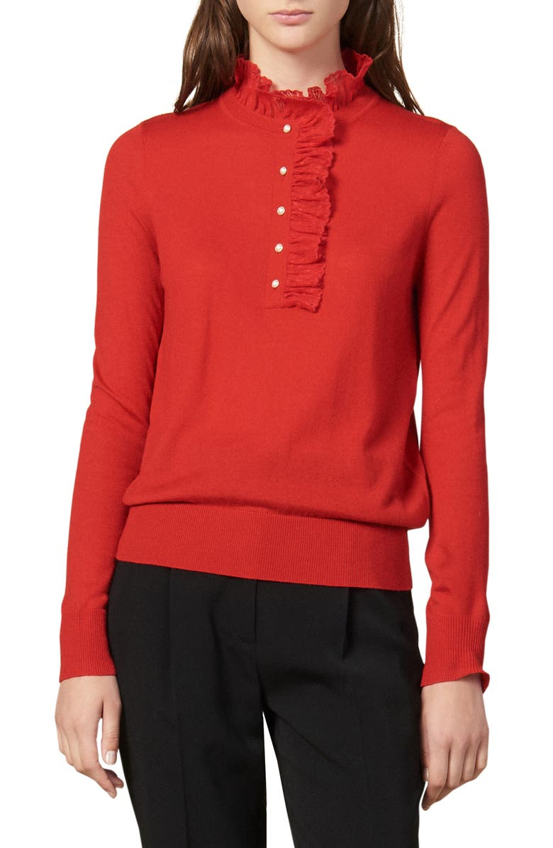 SANDRO Amor Lace Trim Mock Neck Sweater, Main, color, RED