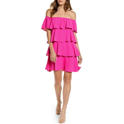 Gibson X Hot Summer Nights Natalie Off The Shoulder Ruffle Dress, Pink (Regular & Petite) (Nordstrom Exclusive)
