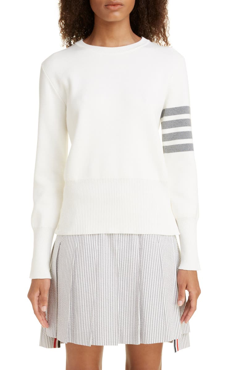 THOM BROWNE 4-Bar Cotton Sweater, Main, color, WHITE