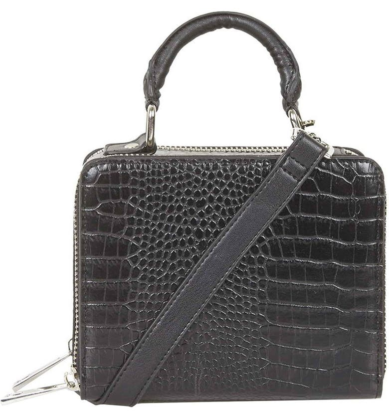 TOPSHOP Croc Effect Box Bag, Main, color, 001