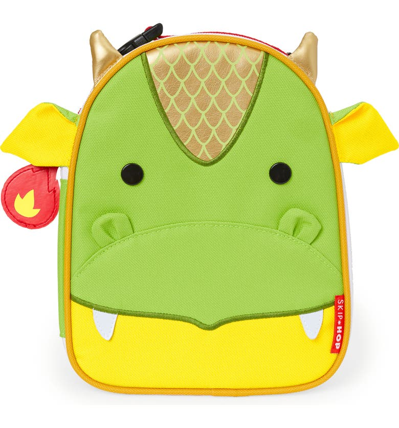 SKIP HOP Zoo Lunchie - Dragon Insulated Lunch Bag, Main, color, GREEN
