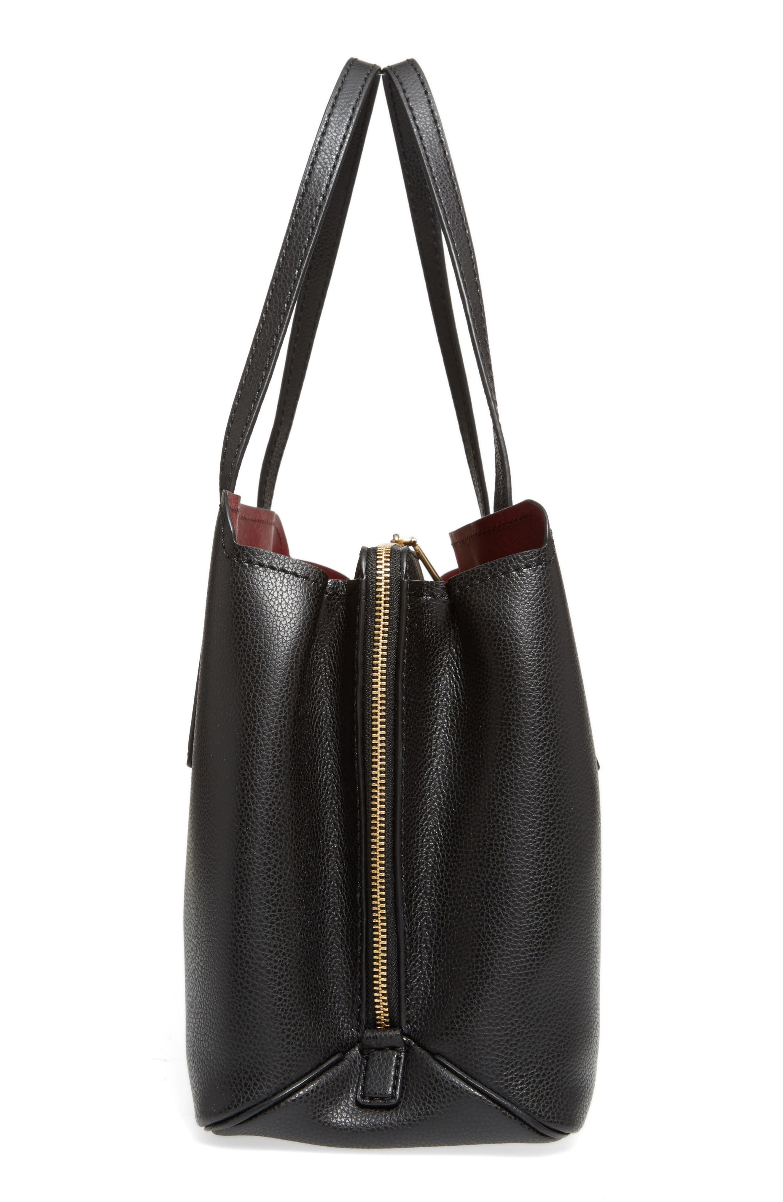 ,                             The Editor Leather Tote,                             Alternate thumbnail 6, color,                             BLACK