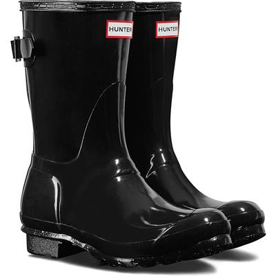 Hunter Original Short Adjustable Back Gloss Waterproof Rain Boot, Black