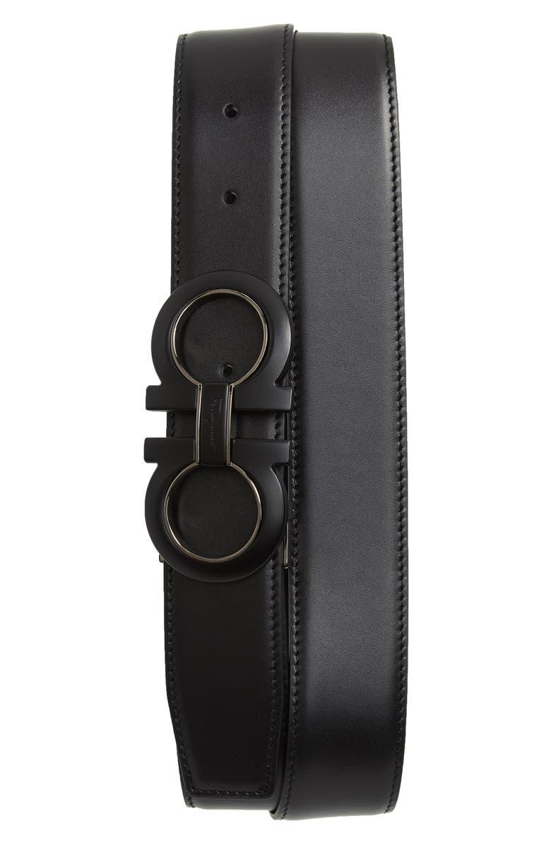SALVATORE FERRAGAMO Reversible Leather Belt, Main, color, NERO / BLUE MARINE