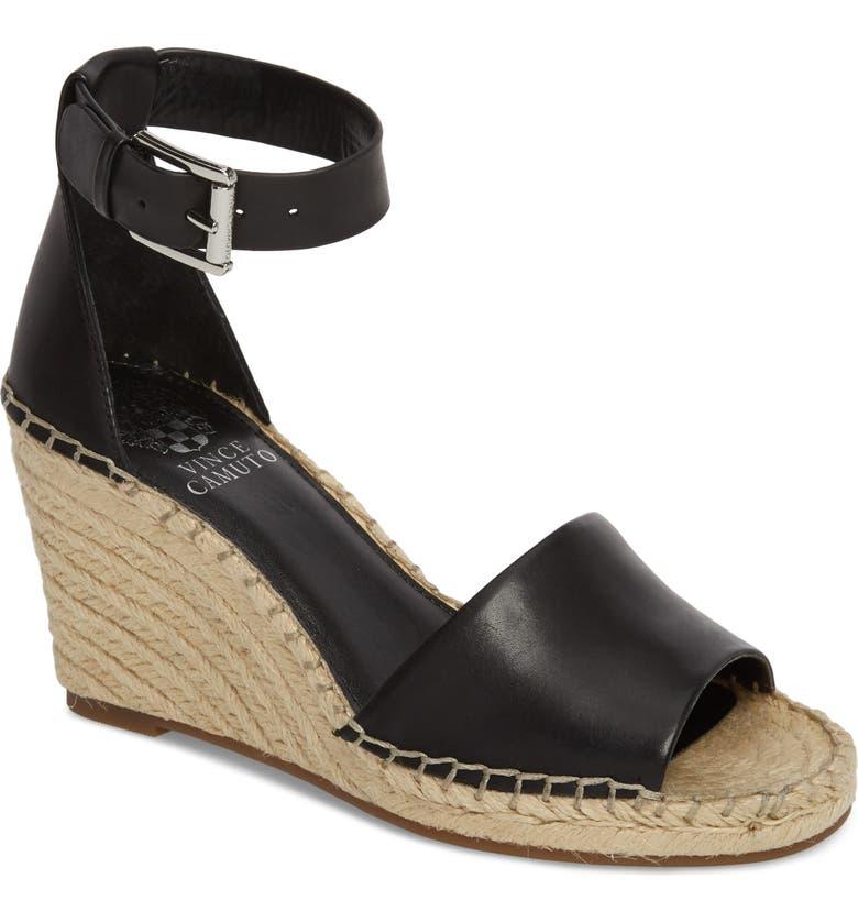 VINCE CAMUTO Leera Wedge Sandal, Main, color, BLACK