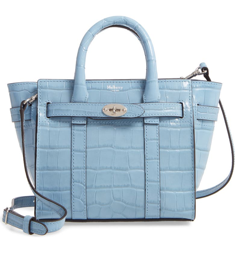 MULBERRY Micro Bayswater Croc Embossed Leather Satchel, Main, color, PALE SLATE