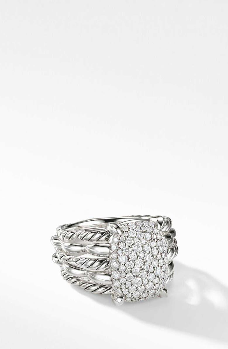 DAVID YURMAN Tides Statement Ring with Pavé Diamond Plate, Main, color, STERLING SILVER/ DIAMOND