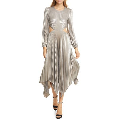 A.l.c. Naples Cutout Waist Long Sleeve Dress, Metallic