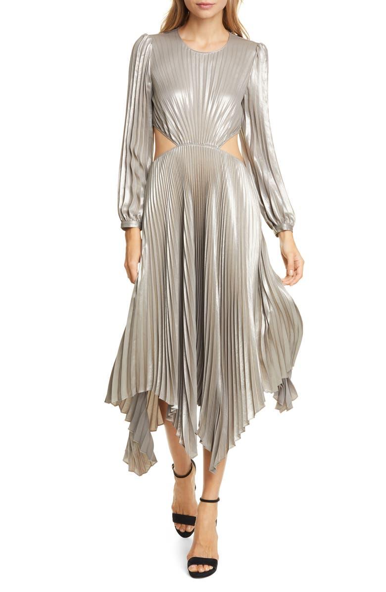 A.L.C. Naples Cutout Waist Long Sleeve Dress, Main, color, ANTIQUE GOLD