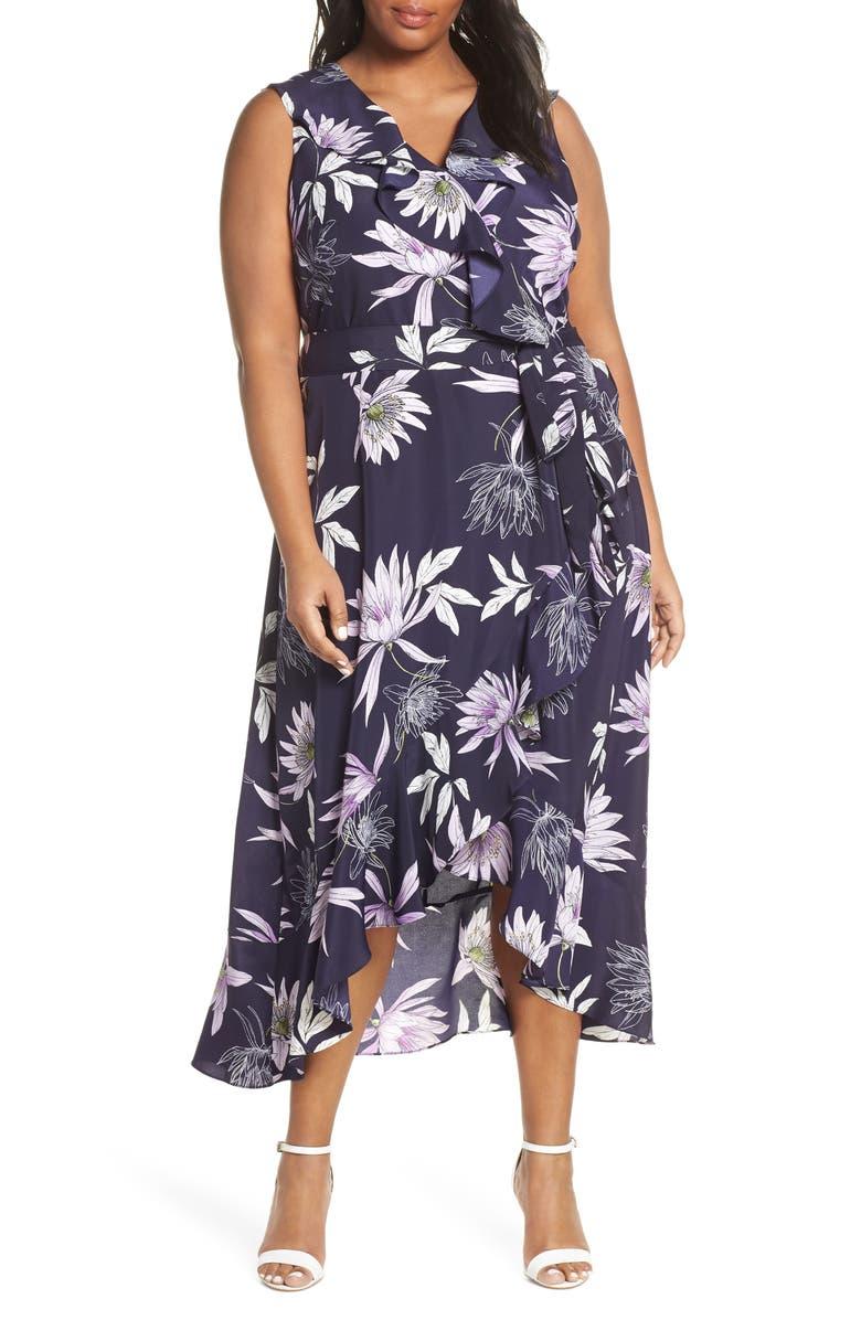 VINCE CAMUTO Asymmetrical Faux Wrap Midi Dress, Main, color, 400