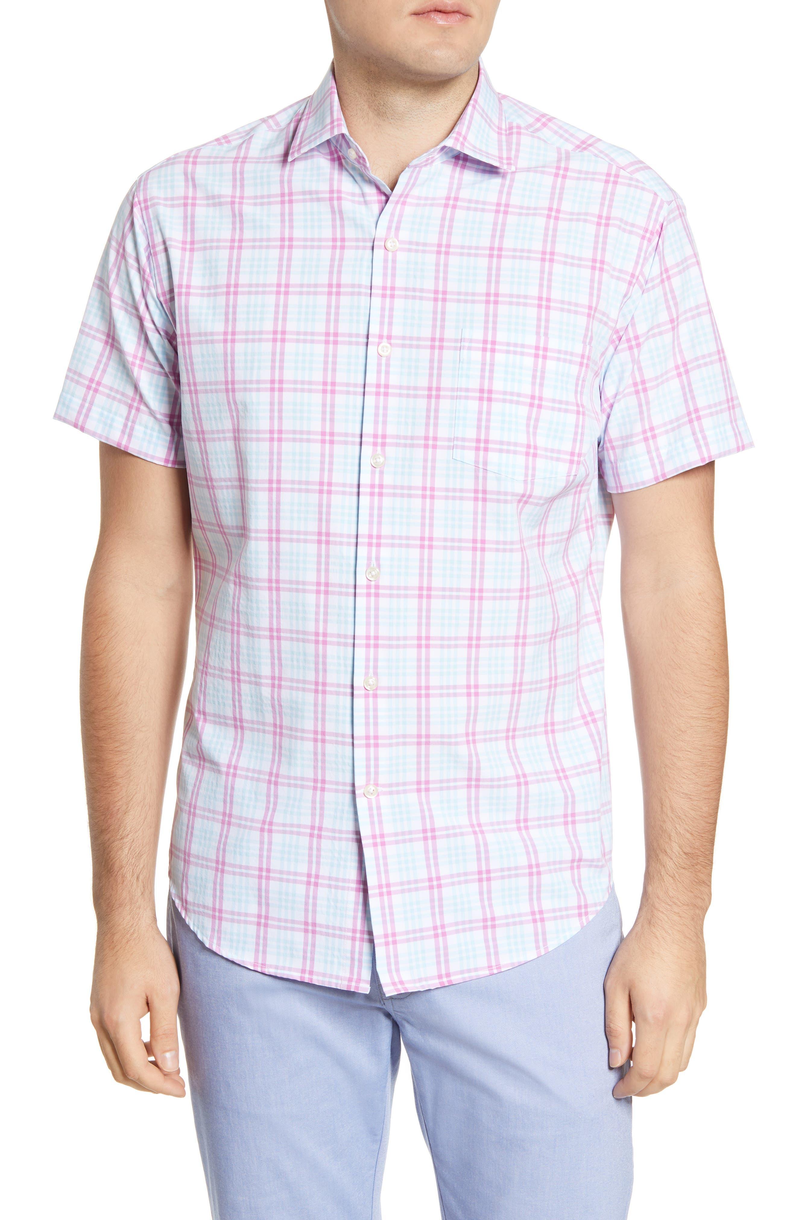 Image of Peter Millar Sonny Plaid Short Sleeve Regular Fit Shirt