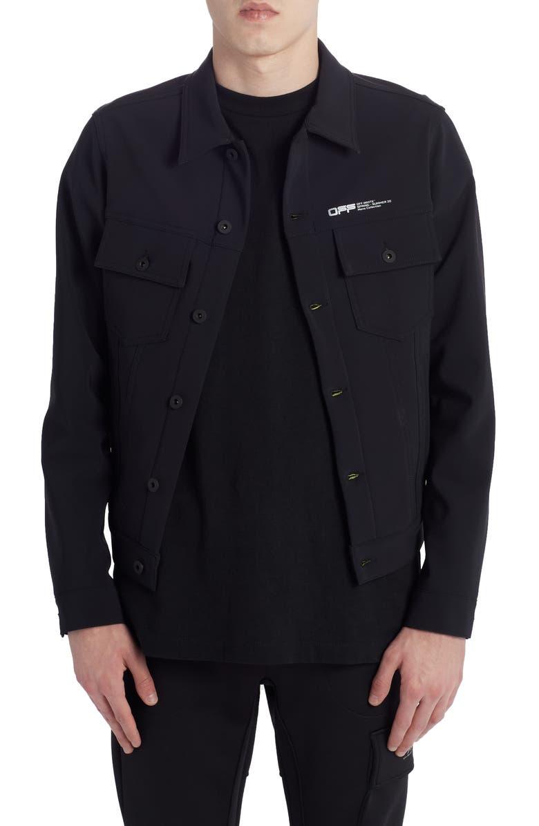 OFF-WHITE Slim Scuba Jacket, Main, color, BLACK WHITE