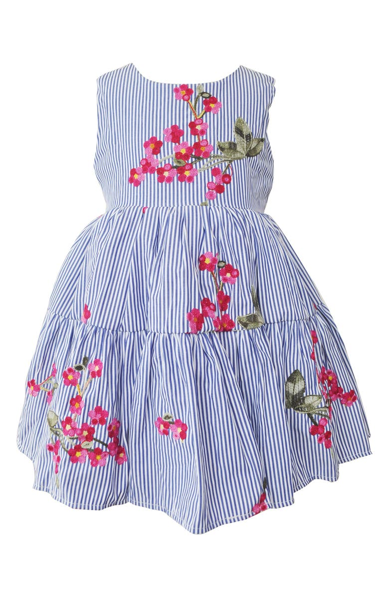 Popatu Floral Embroidered Stripe Fit Flare Dress Toddler Girls Little Girls Big Girls
