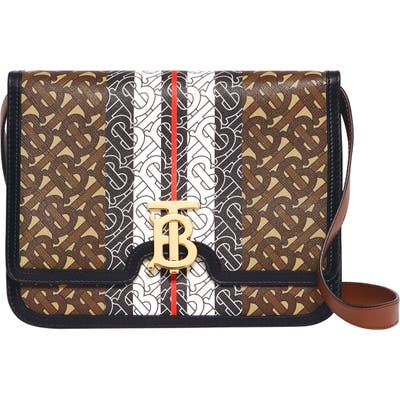 Burberry Medium Tb Monogram Stripe E-Canvas Crossbody Bag - Brown