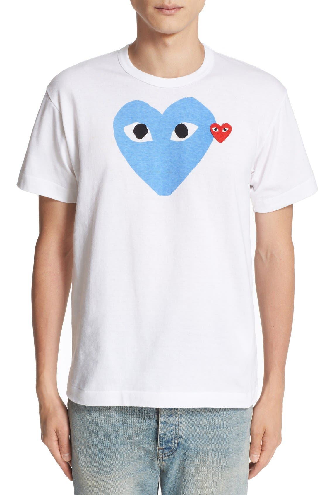 ,                             Heart Slim Fit Print T-Shirt,                             Main thumbnail 1, color,                             BLUE