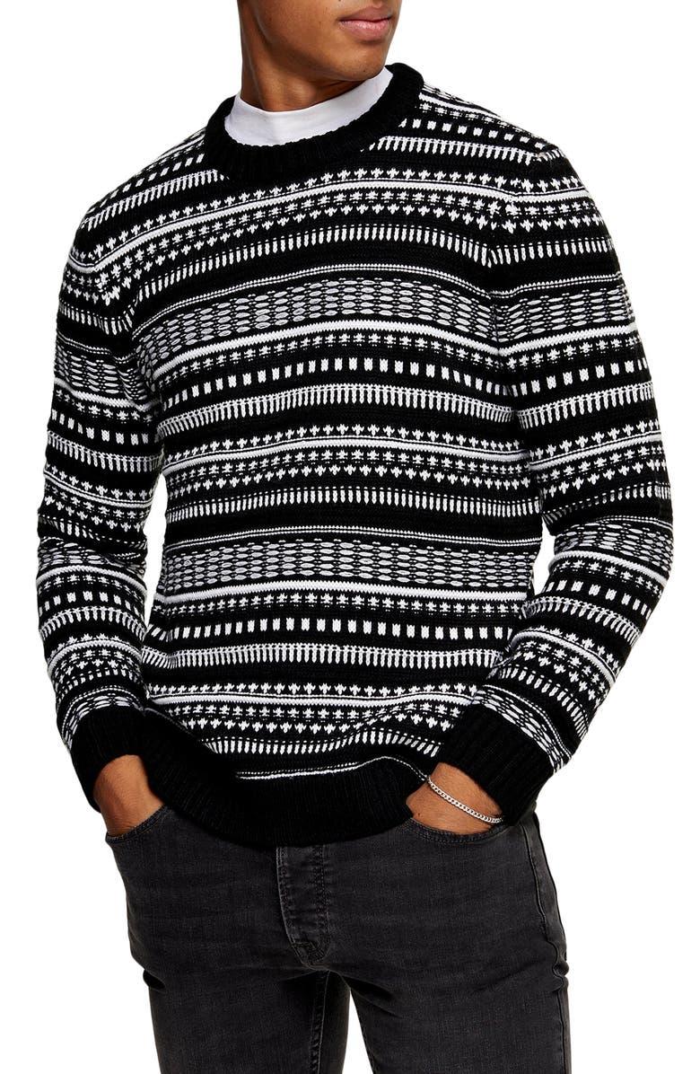 TOPMAN Fair Isle Crewneck Sweater, Main, color, BLACK MULTI