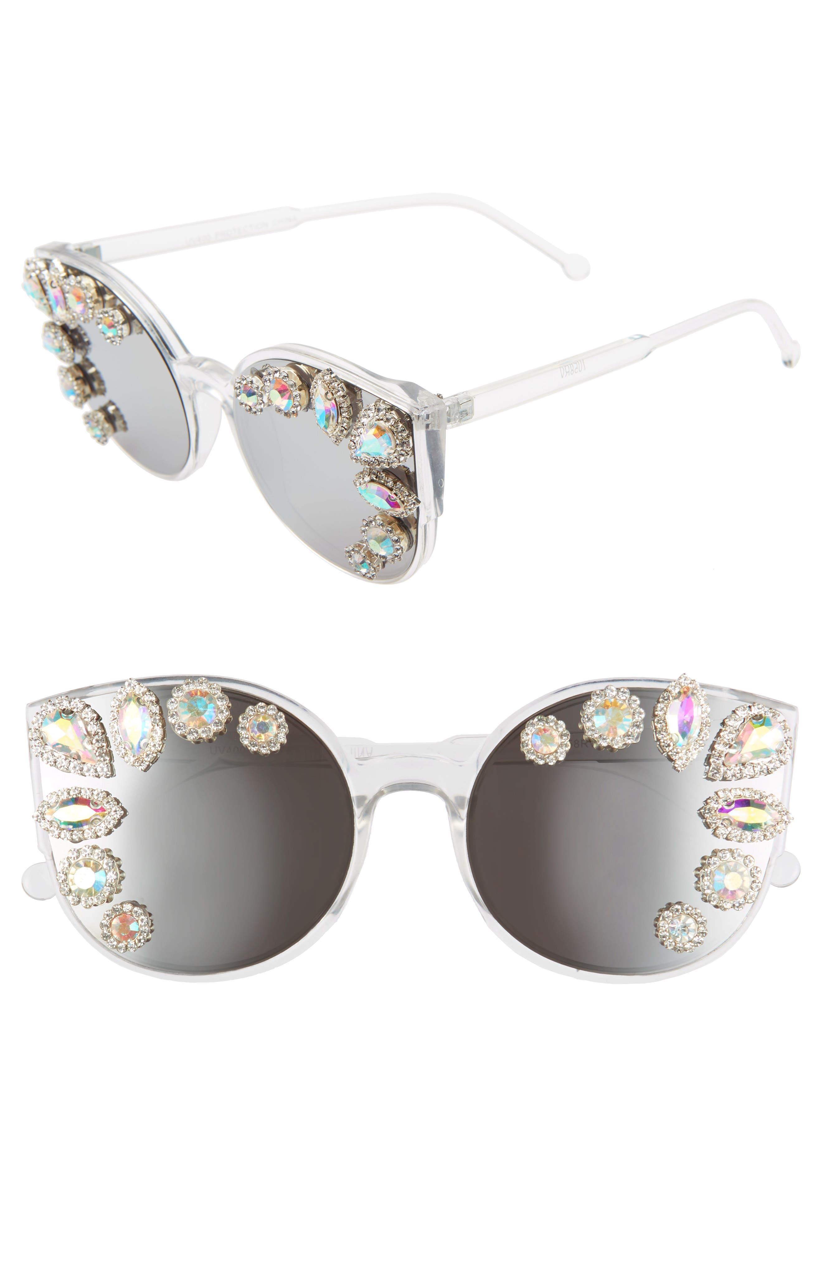 Rad + Refined Crystal Embellished Cat Eye Sunglasses - Silver/ Crystal