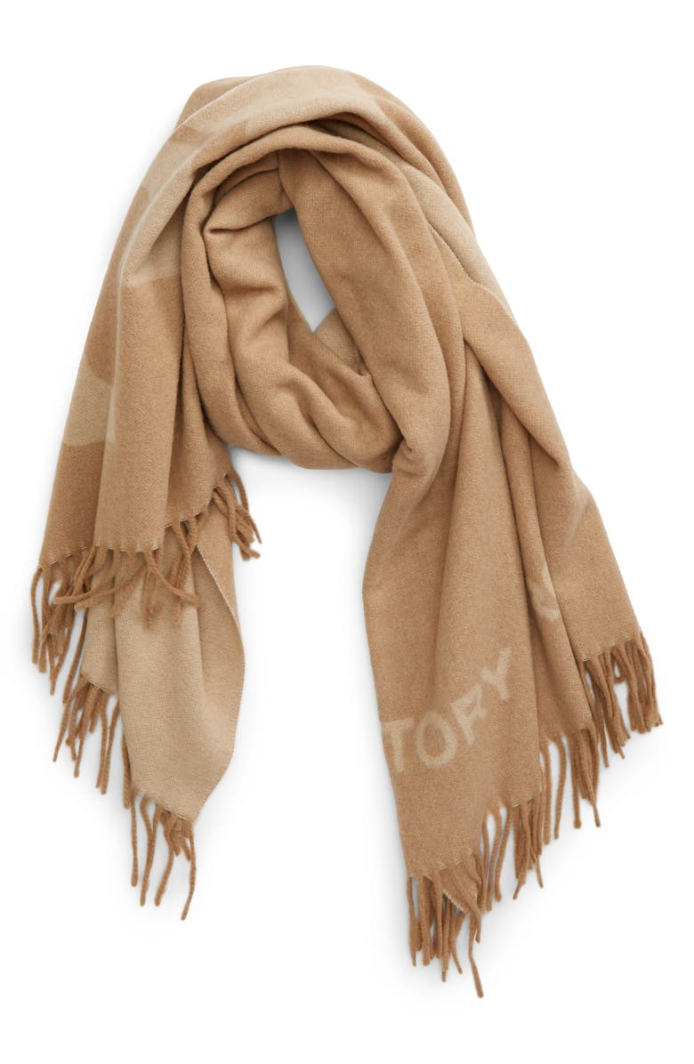 TORY BURCH Logo Fringe Wool Scarf, Main, color, OATMEAL