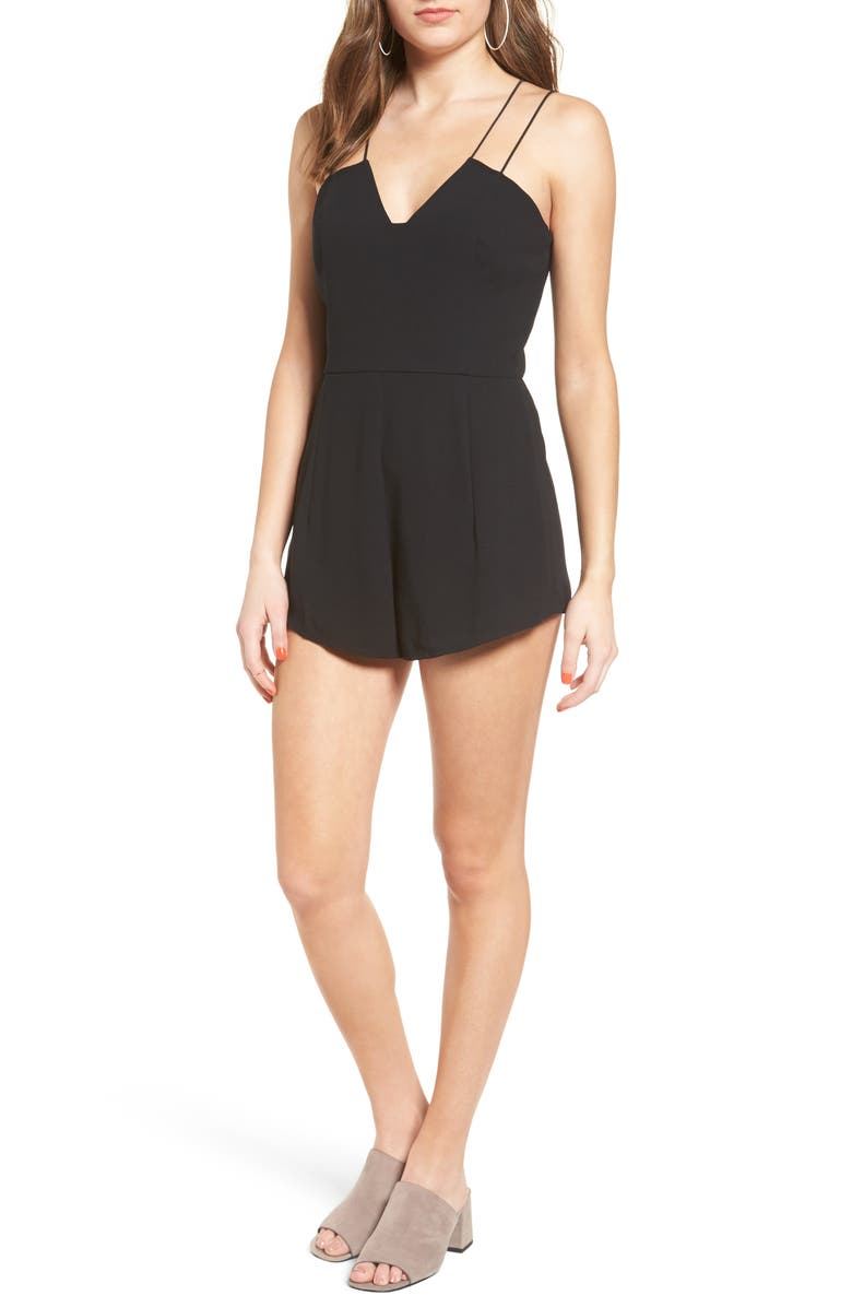 LEITH Strappy Sweetheart Romper, Main, color, 001