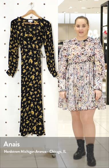 Floral Print Crepe Long Sleeve Midi Dress, sales video thumbnail