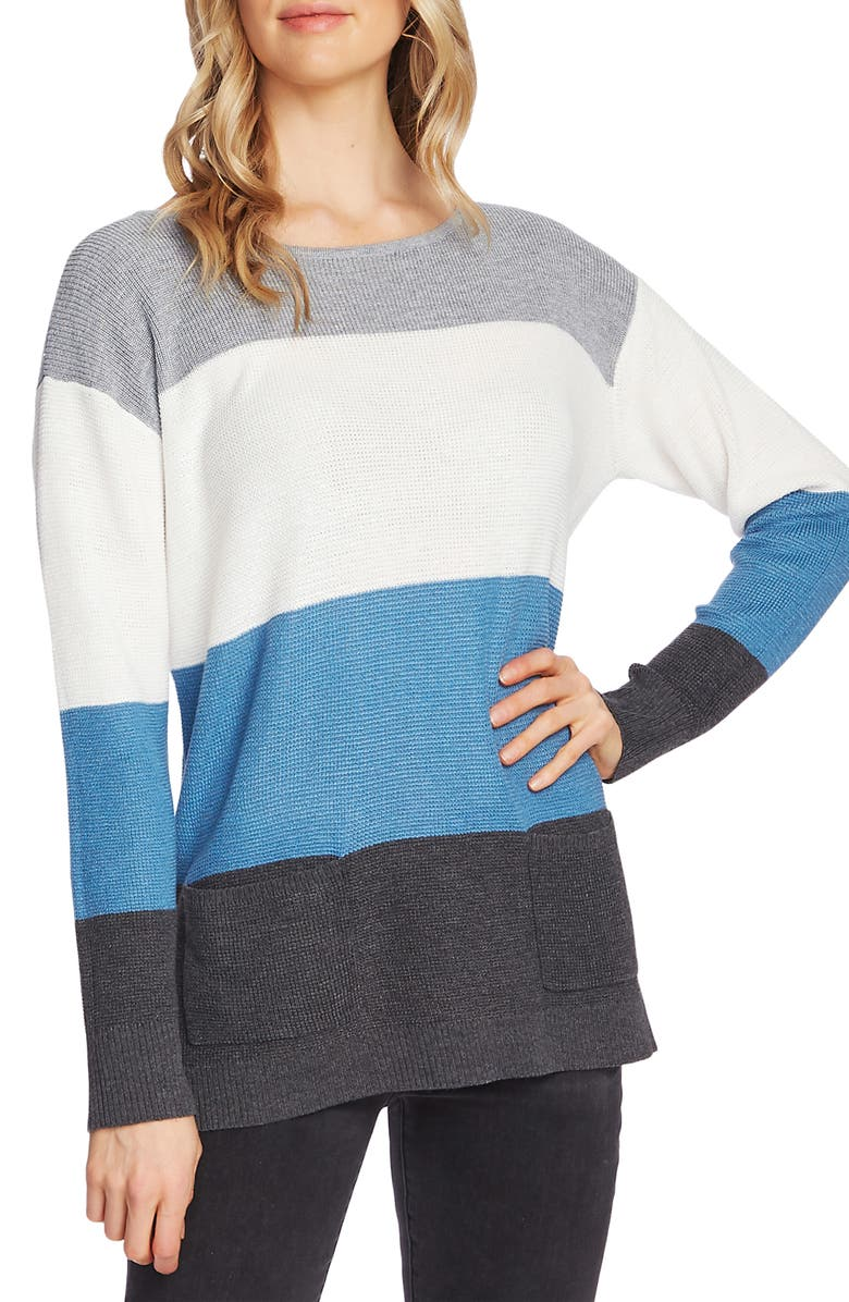 VINCE CAMUTO Colorblock Pocket Sweater, Main, color, MED HEATHER GREY