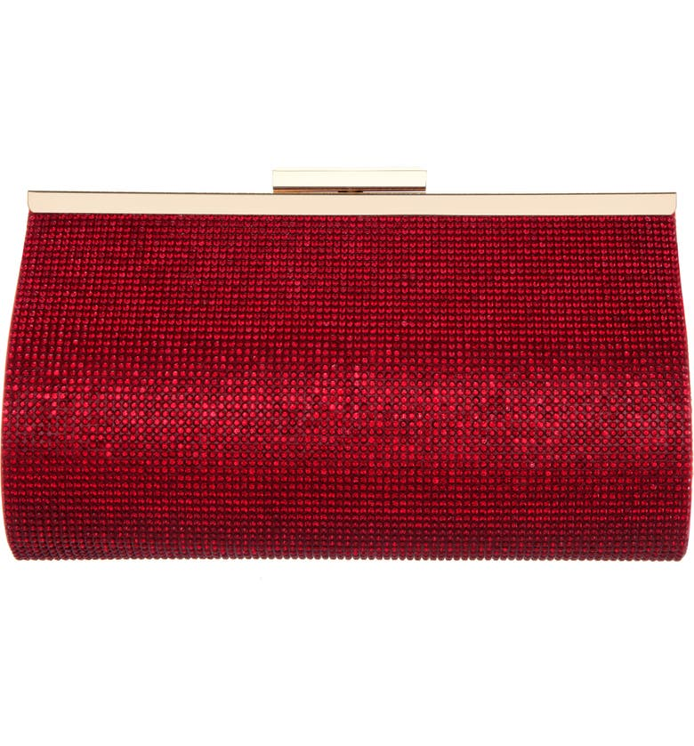 NINA Crystal Frame Clutch, Main, color, SIAM RED
