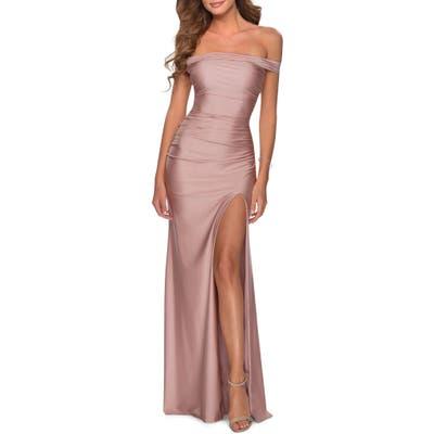 La Femme Off The Shoulder Satin Trumpet Gown, Pink