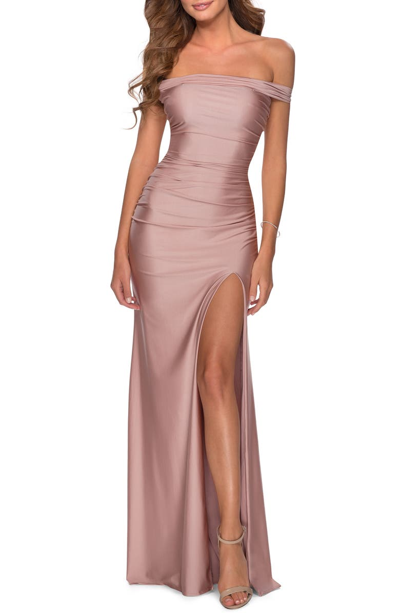 LA FEMME Off the Shoulder Satin Trumpet Gown, Main, color, MAUVE