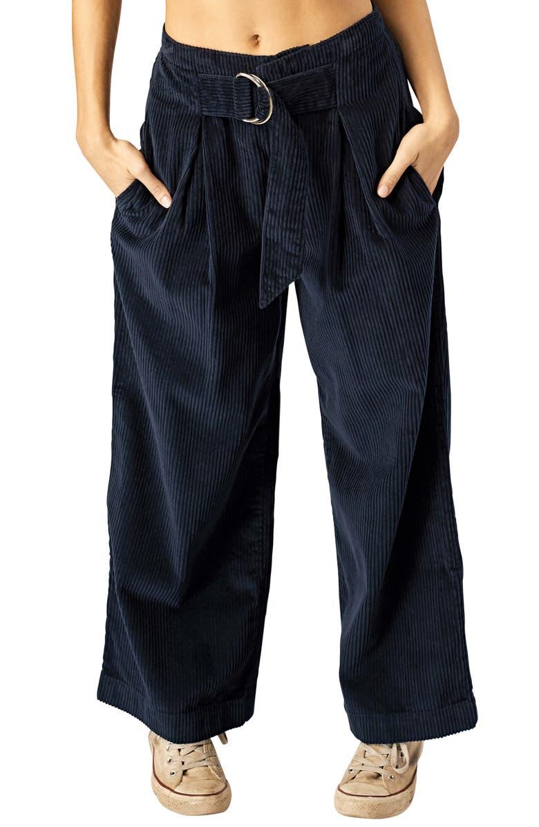 STONE ROW Cut the Cord Corduroy Ankle Wide Leg Pants, Main, color, 400