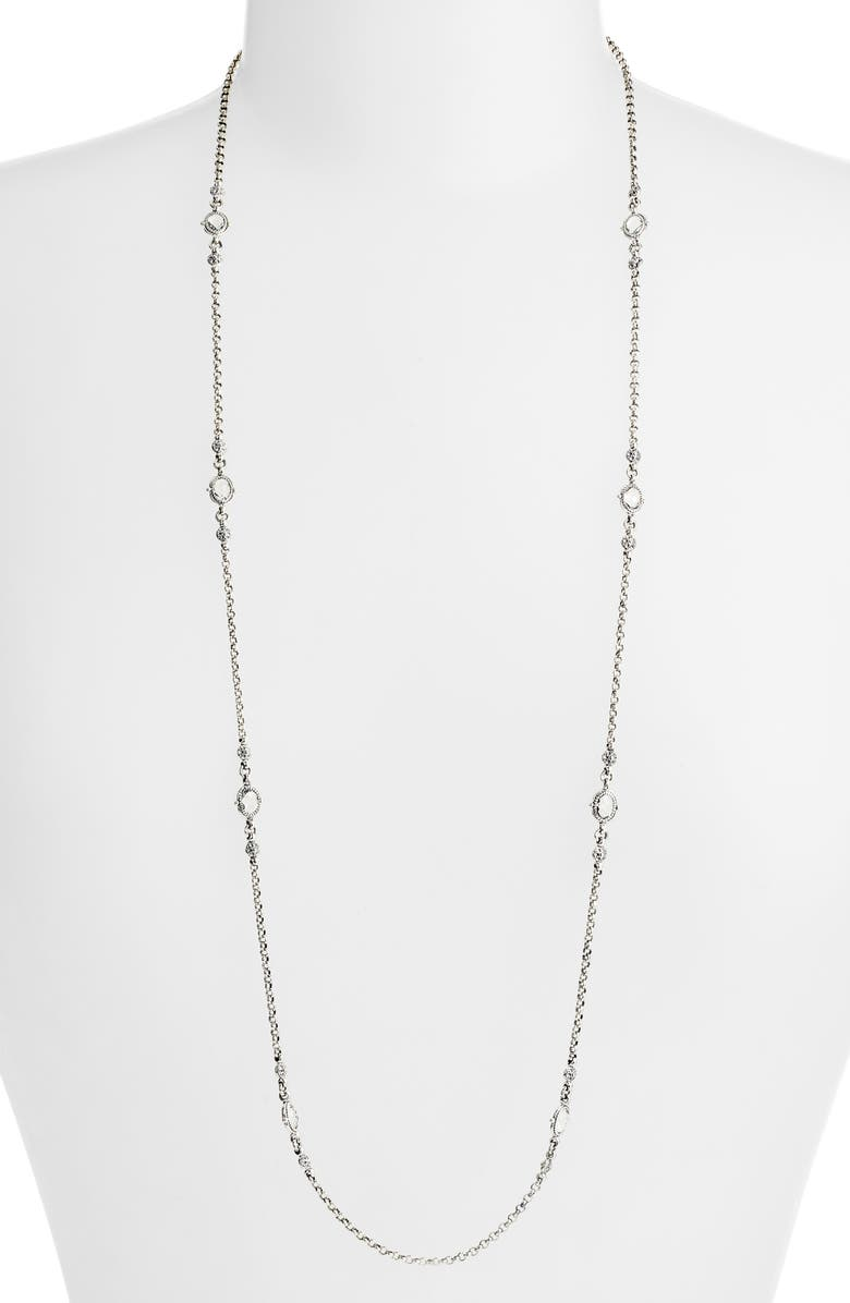 KONSTANTINO Pythia Long Crystal Station Necklace, Main, color, SILVER/ CRYSTAL