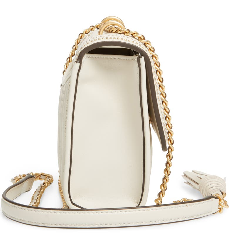TORY BURCH Small Fleming Studded Leather Convertible Shoulder Bag, Alternate, color, BIRCH / GOLD