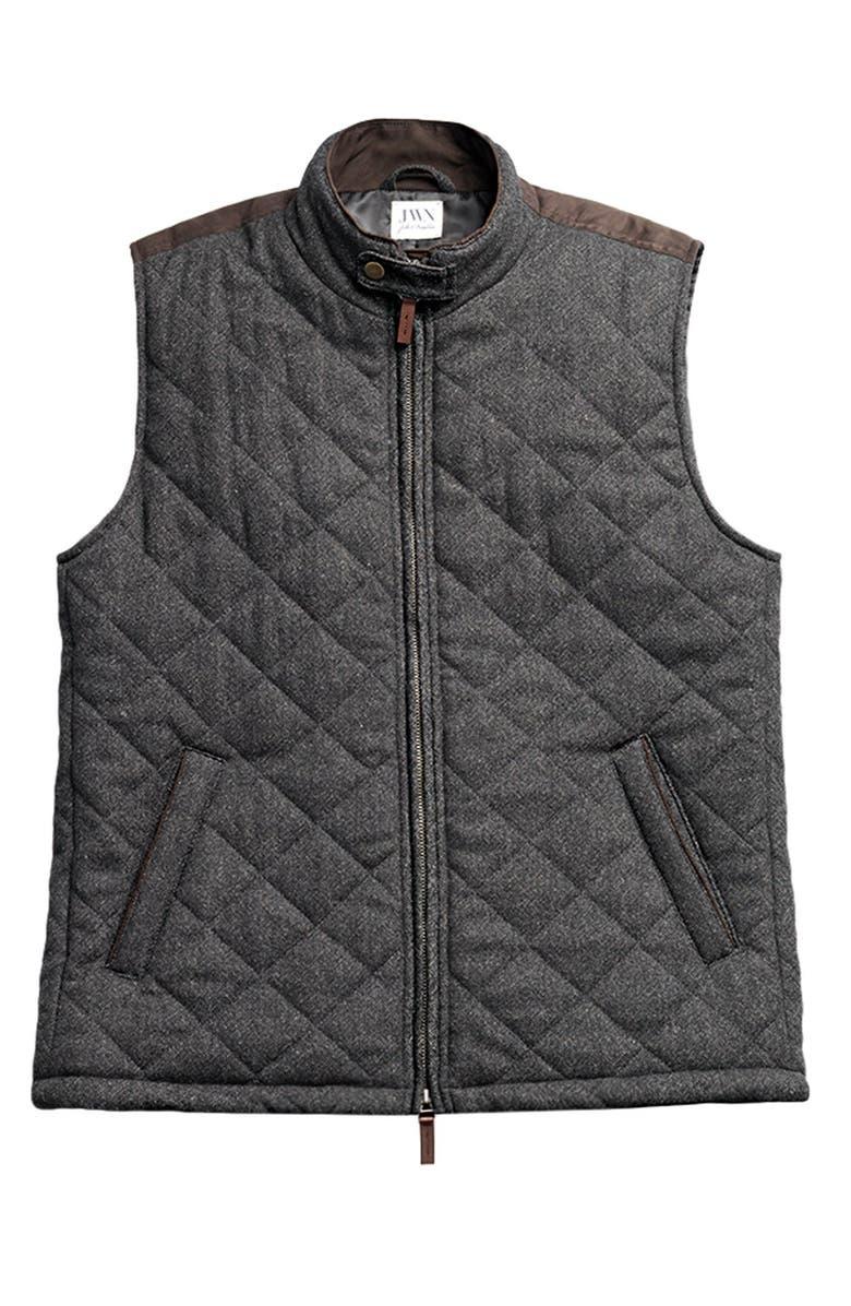 JOHN W. NORDSTROM<SUP>®</SUP> John W. Nordstrom Regular Fit Quilted Tweed Vest, Main, color, 001