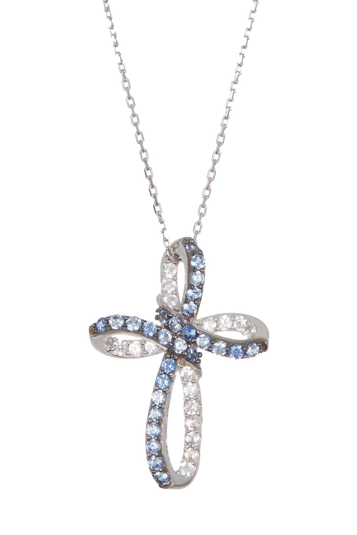 Image of Suzy Levian Sterling Silver Blue Sapphire Cross Pendant Necklace
