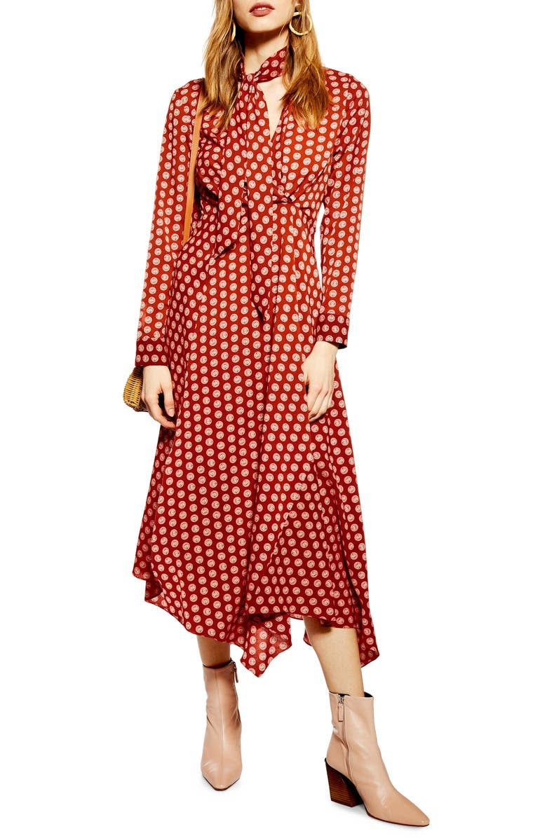 TOPSHOP Horse Coin Midi Dress, Main, color, 220