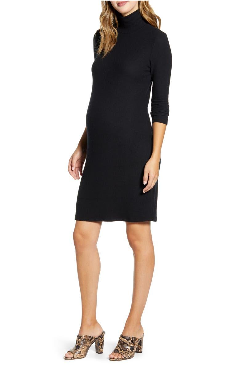 MATERNAL AMERICA Long Sleeve Turtleneck Maternity Sweater Dress, Main, color, BLACK