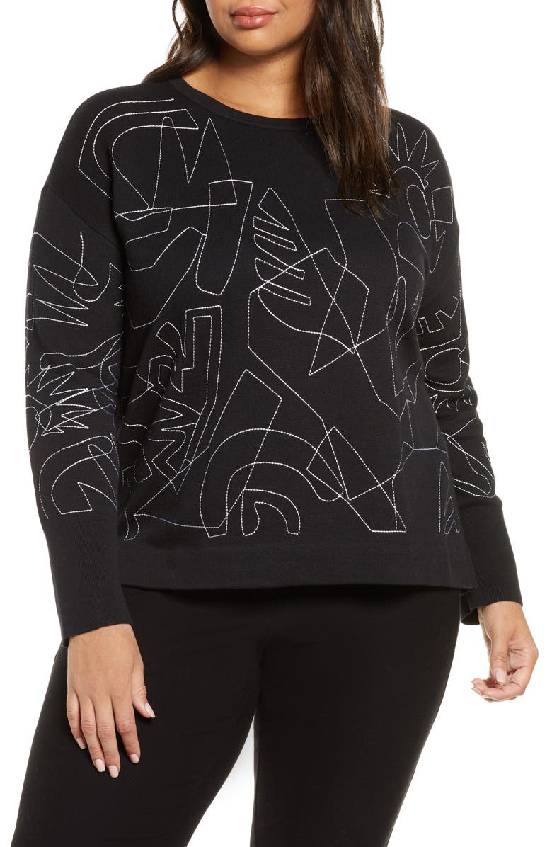 NIC+ZOE Embroidered Sweater, Main, color, BLACK ONYX