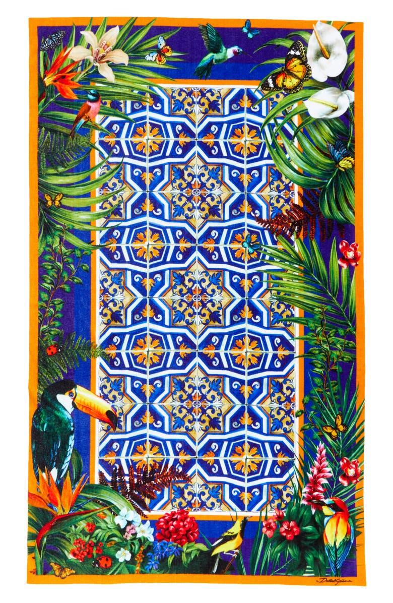 DOLCE&GABBANA Tile Print Beach Towel, Main, color, 400