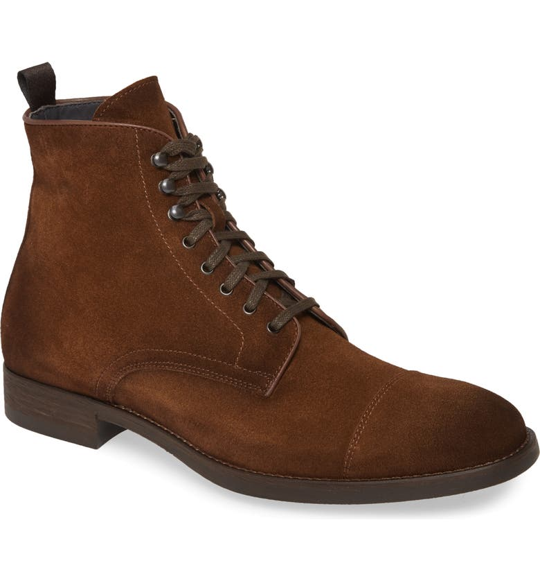 TO BOOT NEW YORK Richmond Cap Toe Lace-Up Boot, Main, color, MEDIUM BROWN SUEDE