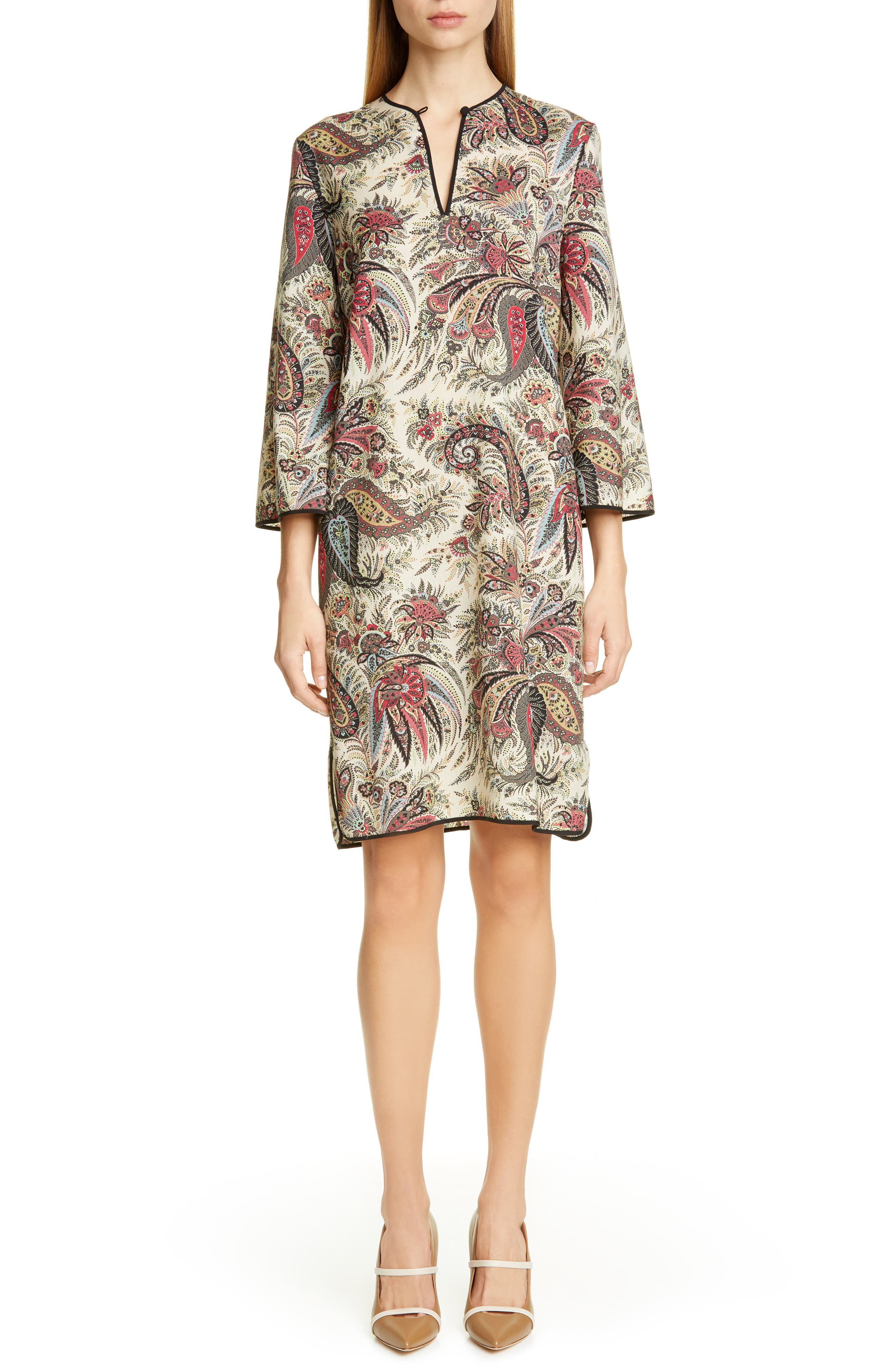 Etro Paisley Print Wool Shift Dress, US / 42 IT - Burgundy