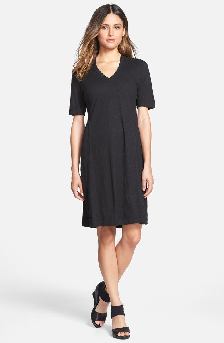 EILEEN FISHER Hemp & Organic Cotton Deep V-Neck Dress, Main, color, 001