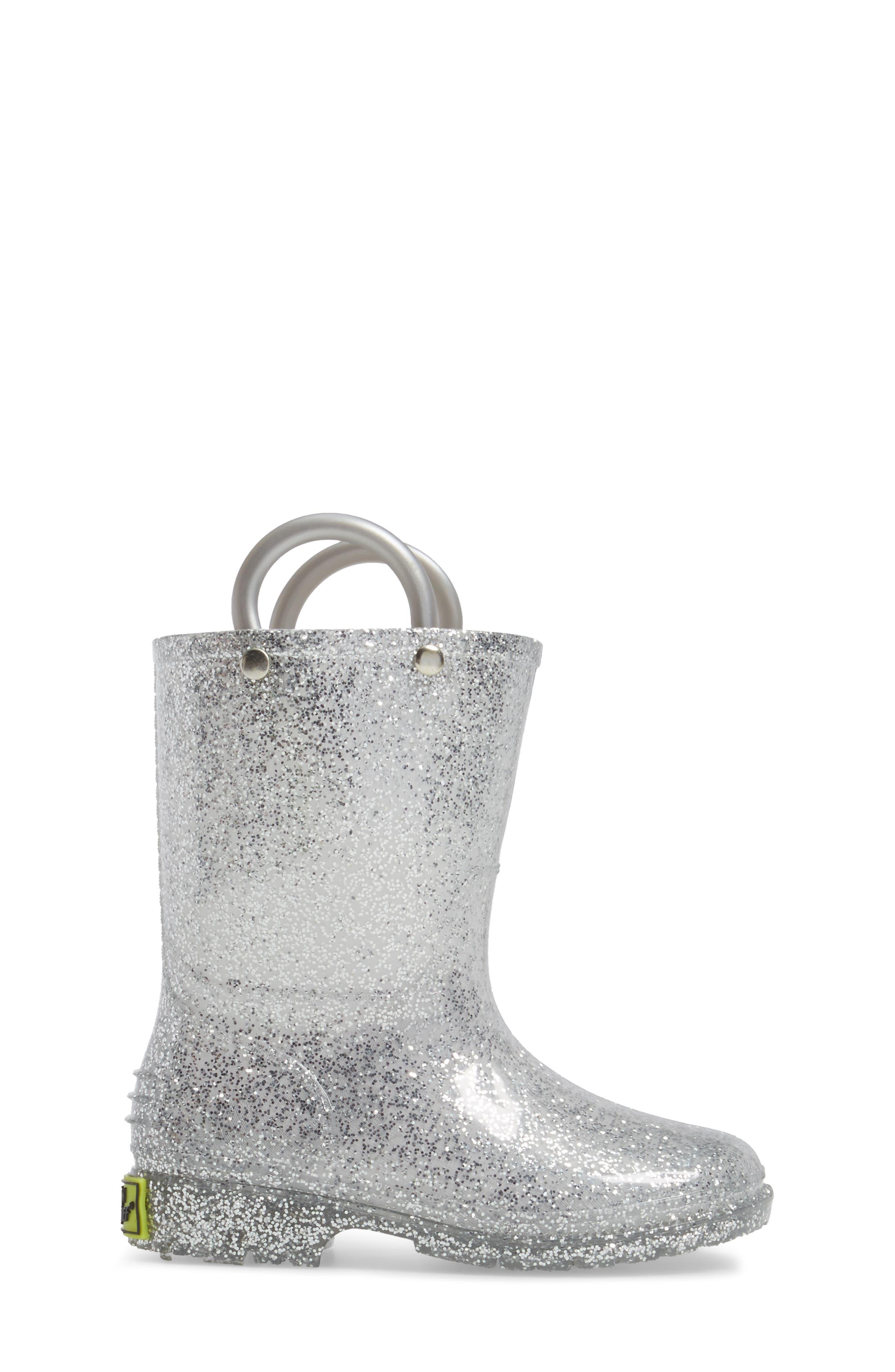 ,                             Glitter Waterproof Rain Boot,                             Alternate thumbnail 3, color,                             SILVER