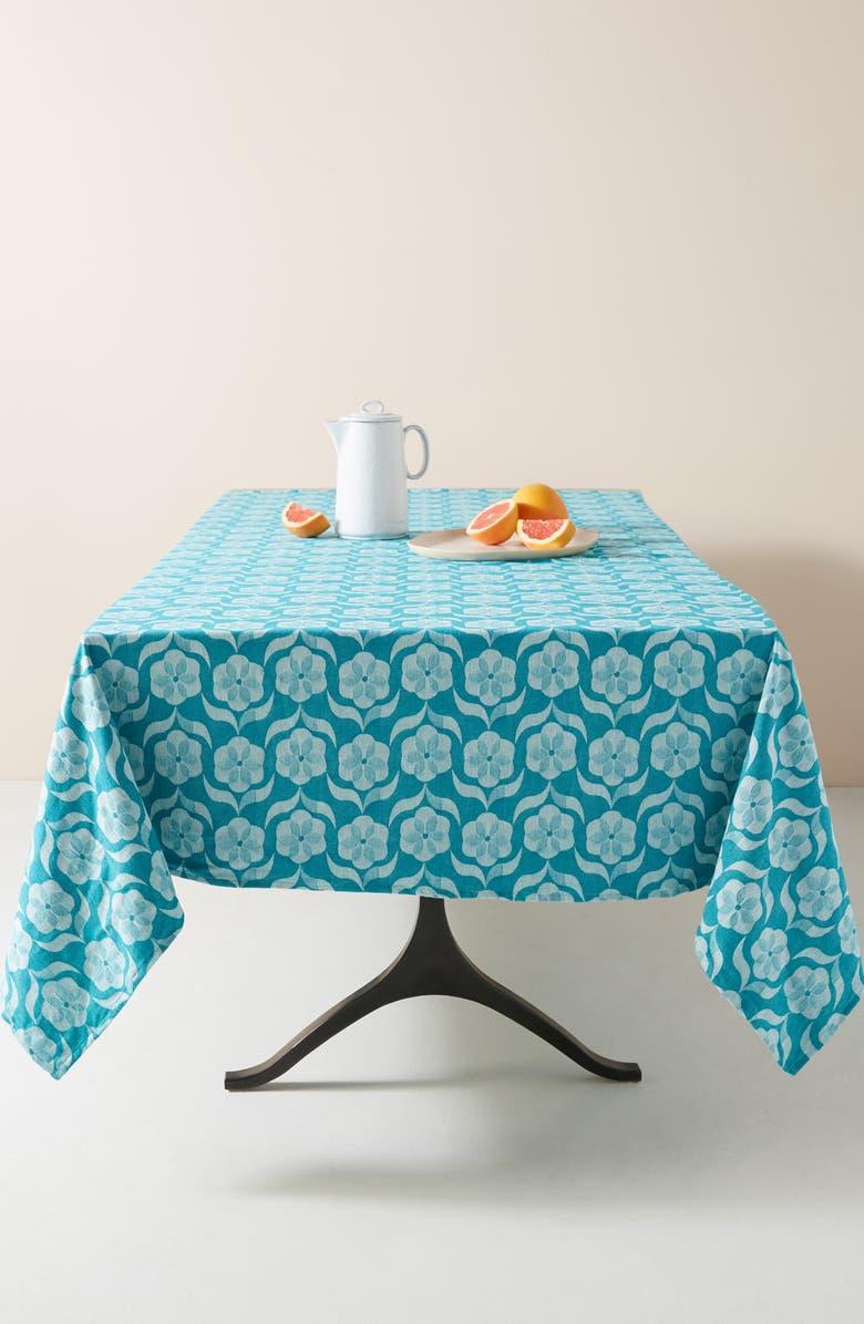 ANTHROPOLOGIE Floral Tablecloth, Main, color, IRIS BLUE