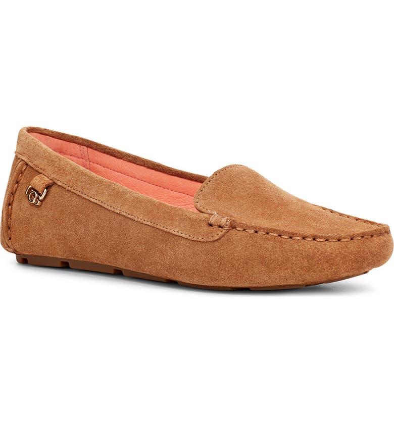 UGG<SUP>®</SUP> Flores Driving Loafer, Main, color, CHESTNUT